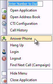 CTI Client Tray Menu Answer Call